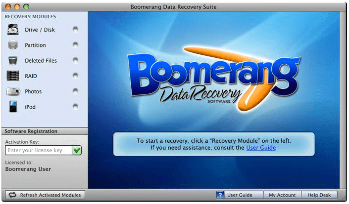 Boomerang data recovery suite for mac