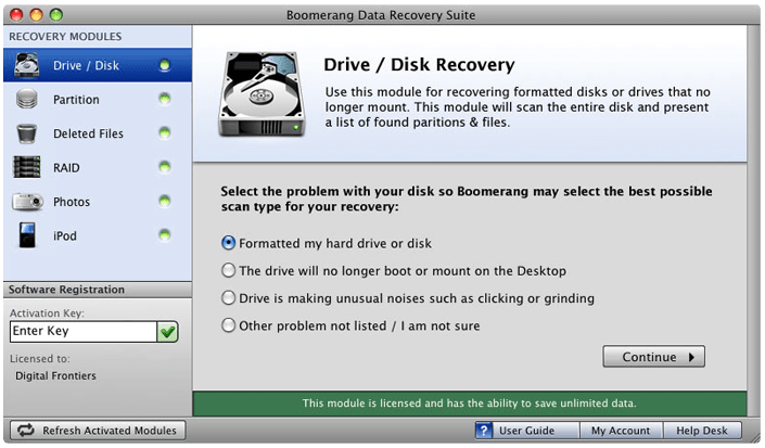 Boomerang Hard disk drive recovery for mac