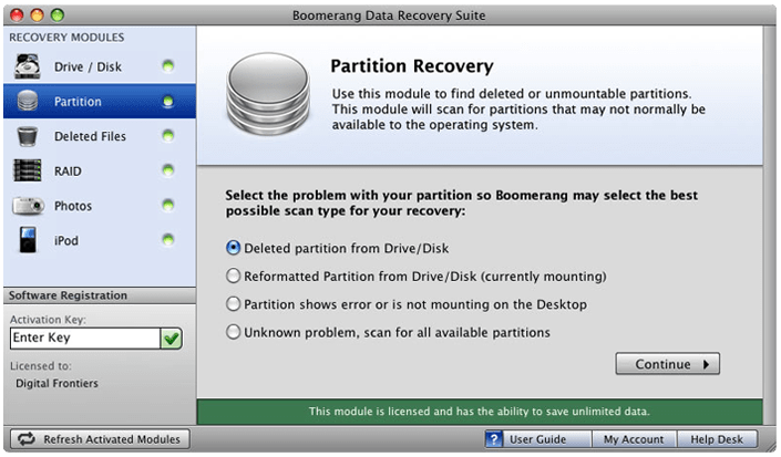 Boomerang Partition Recovery for Mac