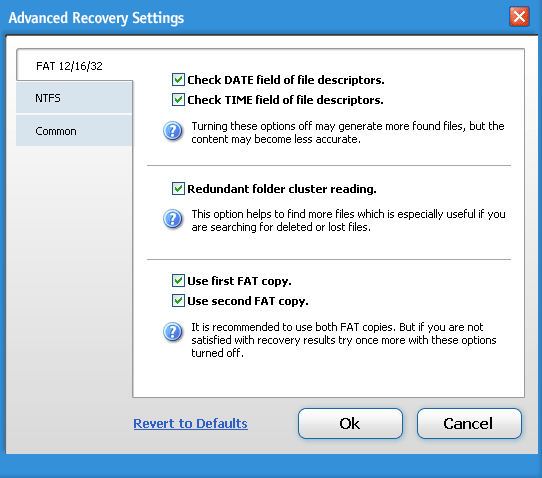 Boomerang data recovery fat settings
