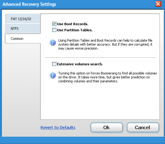 Boomerang Data recovery advanced settings