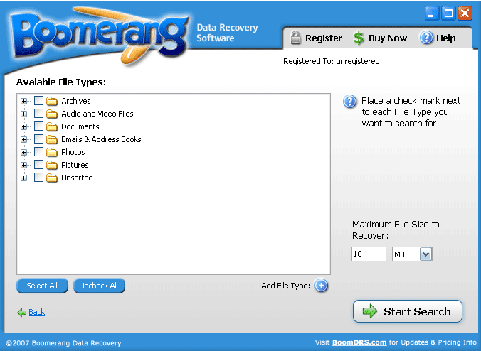 Boomerang Data Recovery add file type screen