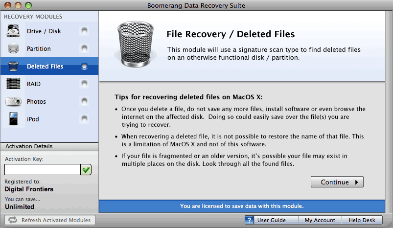 Boomerang deleted files recovery