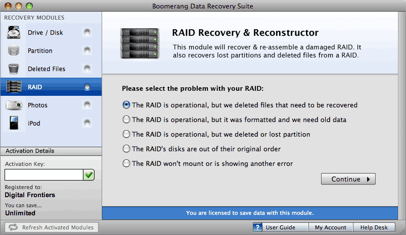 Boomerang RAID Recovery and Reconstructor